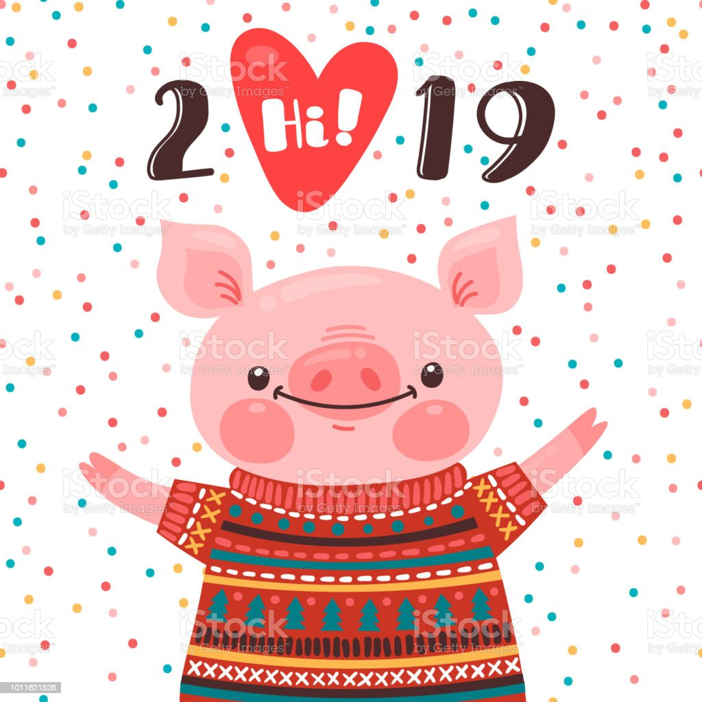 2019 happy new year card design symbol of the chinese calendar cute pig greets with