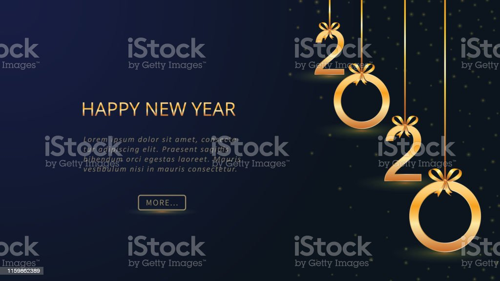 2020 happy new year card design with hanging golden shining numbers with bows and glitter on dark blue background holiday banner poster greeting invitation template year of the rat copy space stock 2020 happy new year card design with hanging golden shining numbers with bows and glitter on dark blue background holiday banner poster greeting invitation template year of the rat copy space stock