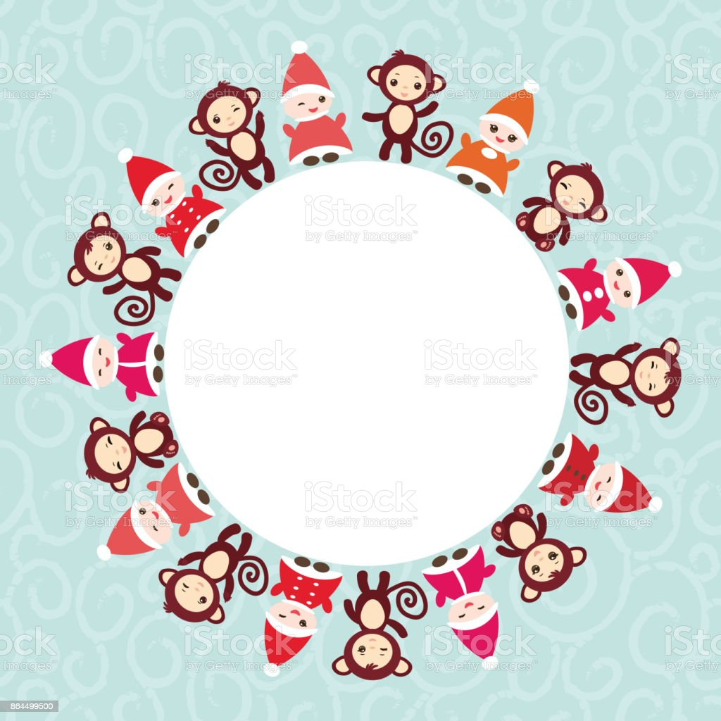 2016 Happy New Year Card For Your Text Round Frame Funny Gnomes In ...