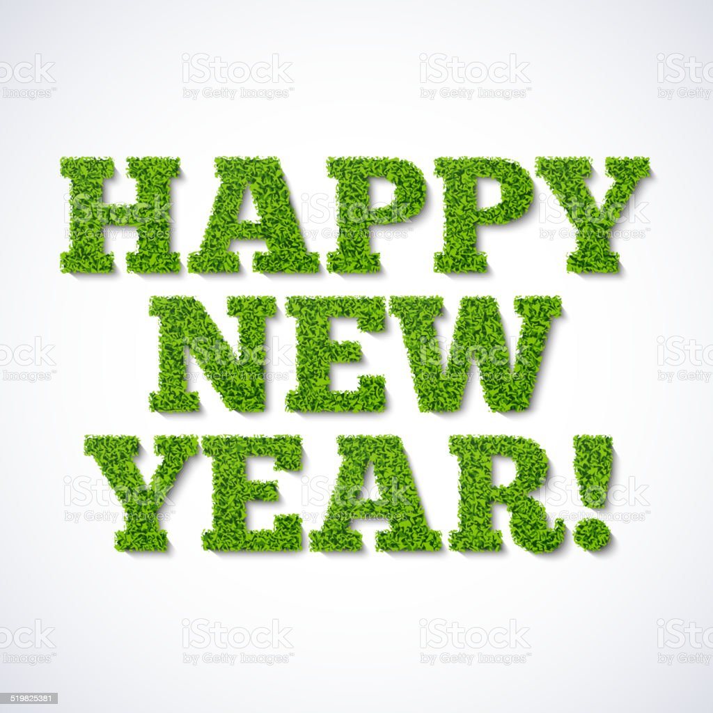 Happy new year card - green grass vector art illustration