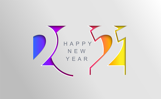 2021 Happy new year card in paper cut style.