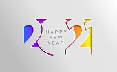 istock 2021 Happy new year card in paper cut style. 1255038196
