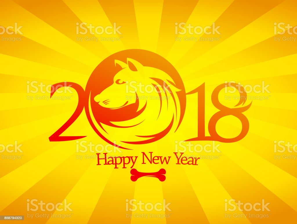 2018 happy new year card or invitation card design concept with yellow dog royalty free