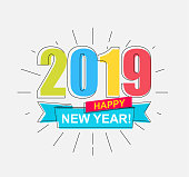 2019 Happy New Year. Colorful outline banner for new year holidays. Perfect for presentations, flyers and banners, leaflets, postcards and posters. Vector illustration EPS10.