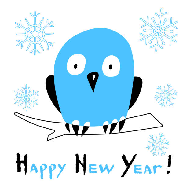 happy new year card with a stylized owl on white background vector art illustration