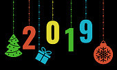 2019 happy new year card with black background and colorful christmas baubles