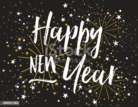istock Happy New Year Card with Bold Script Lettering 496352960