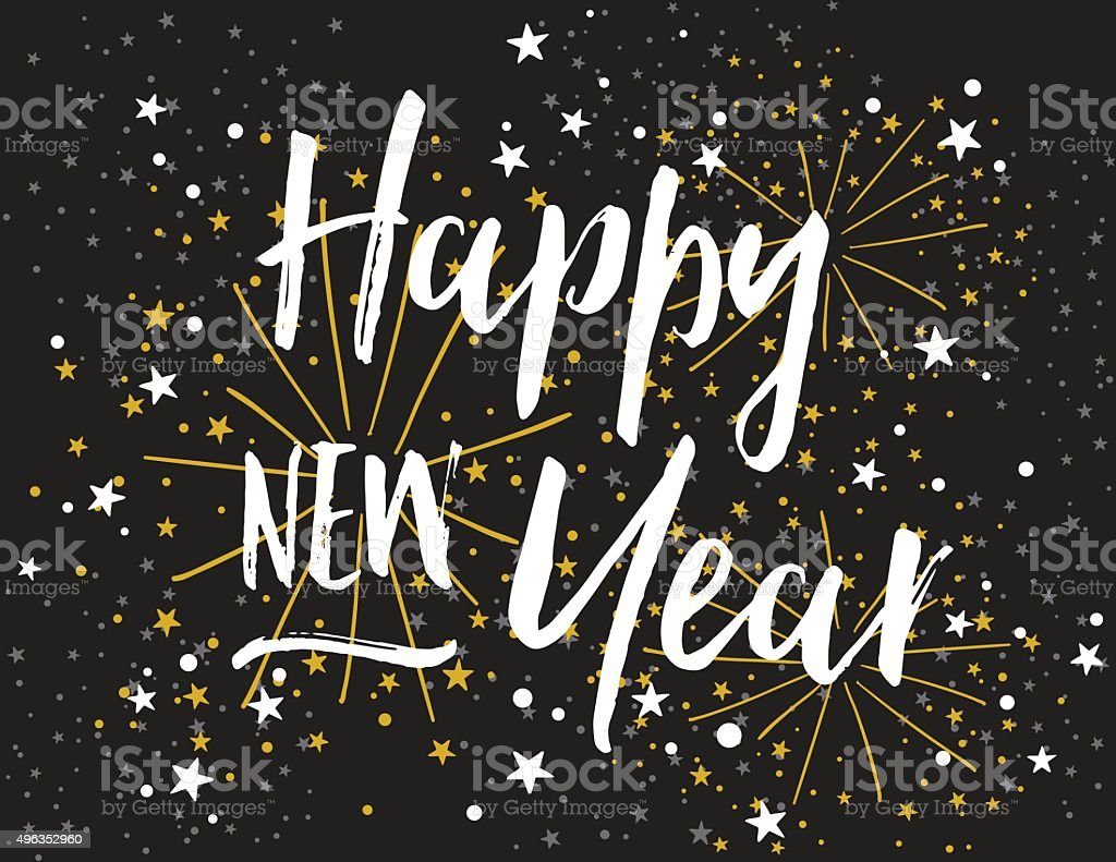 Happy New Year Card with Bold Script Lettering vector art illustration