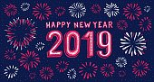 Hand-drawn 2019 happy new year card with fireworks background if you have Adobe Illustrator or other vector software. All shapes are vector