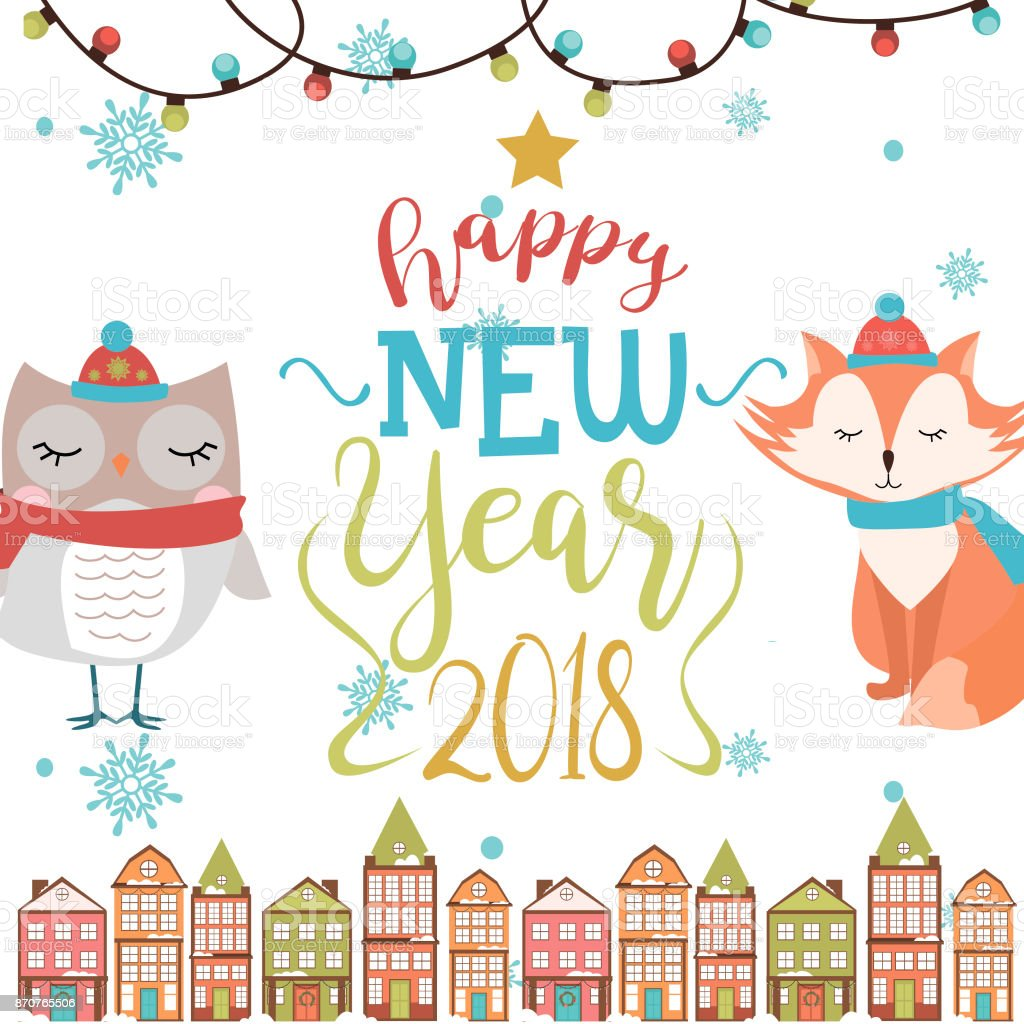 Happy New Year Card With Fun Animals Stock Vector Art & More Images ...