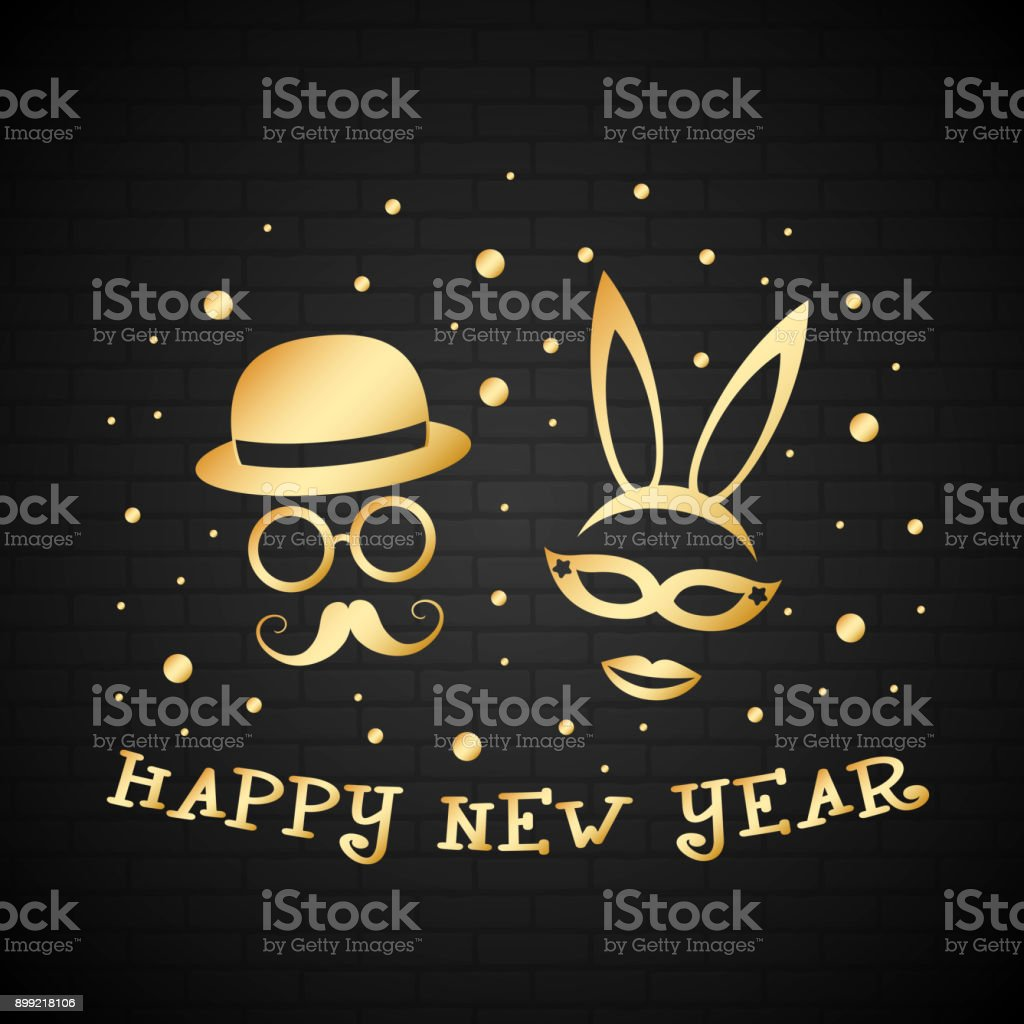 Happy New Year Card With Funny Masks In Retro Style Vector Stock