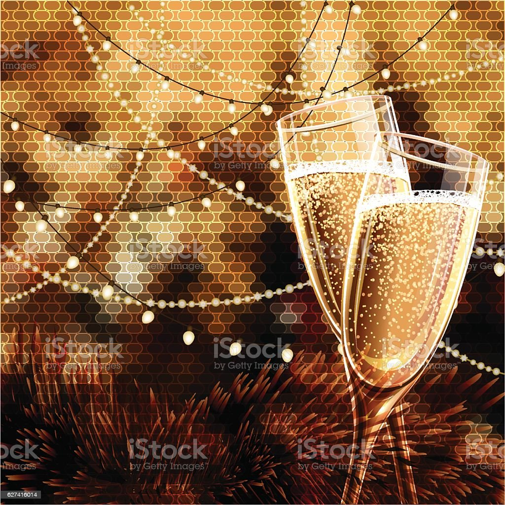 happy new year card with glasses of champagne royalty free happy new year card