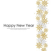 Happy New Year card with gold and white snow flakes. Vector illustration.