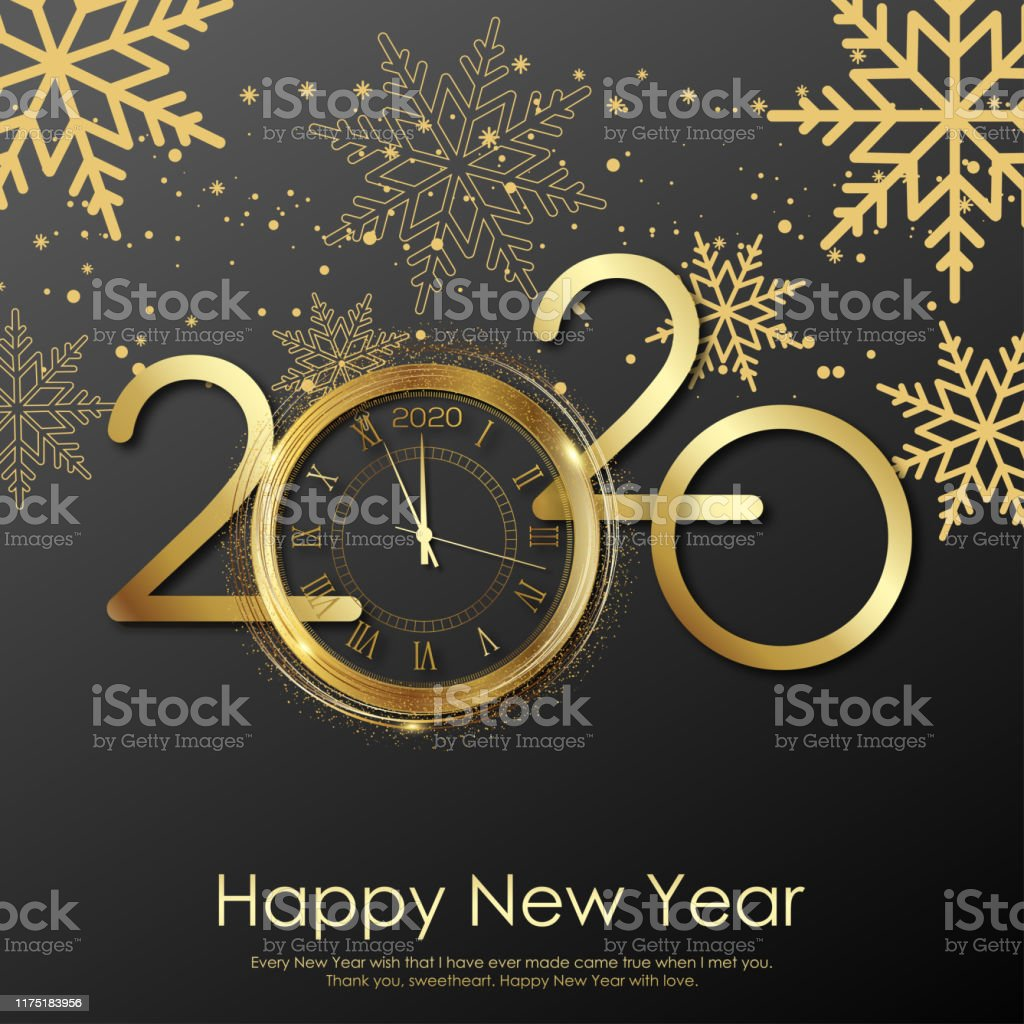 Happy New Year card with gold clock and snowflakes. 2020 Vector - Royalty-free 2020 arte vetorial