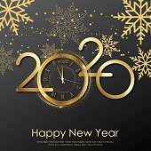 Happy New Year card with gold clock and snowflakes. 2020 Vector.