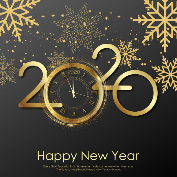 Happy New Year card with gold clock and snowflakes. 2020 Vector Happy New Year card with gold clock and snowflakes. 2020 Vector. 2020 stock illustrations