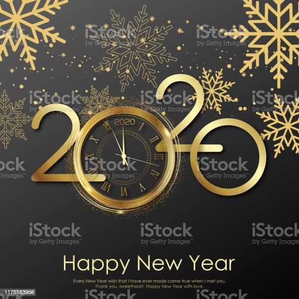 Happy New Year Card With Gold Clock And Snowflakes 2020 Vector - Arte vetorial de stock e mais imagens de 2020