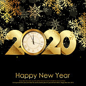 Happy New Year card with gold clock and snowflakes. Vector illustration.