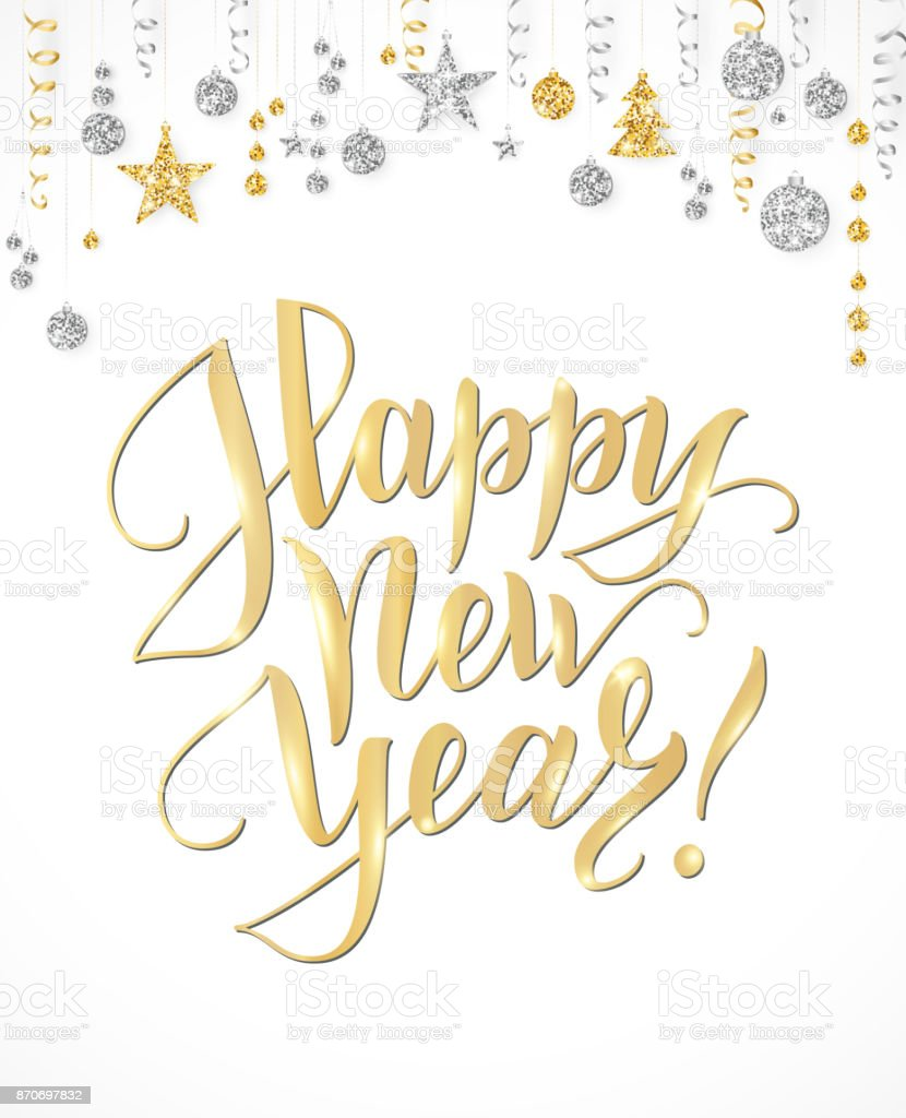 happy new year card with hand written lettering gold and silver glitter border garland