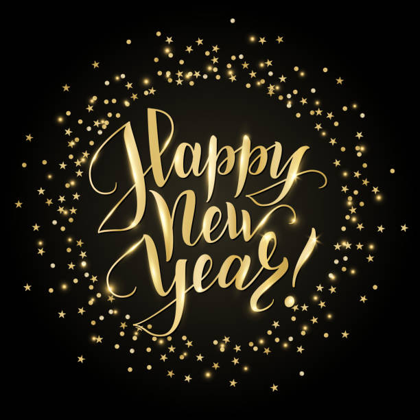 happy new year card with hand written lettering golden glitter border falling confetti on black stock vector art more images of art 870691262 istock