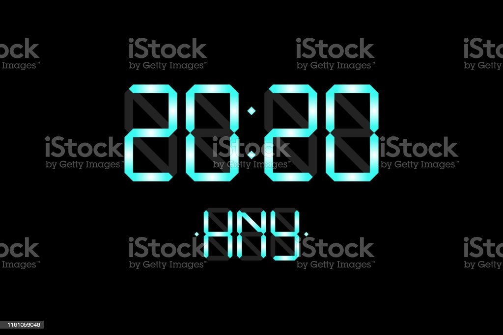 Happy New Year card with lcd electronic display clock numbers 2020...