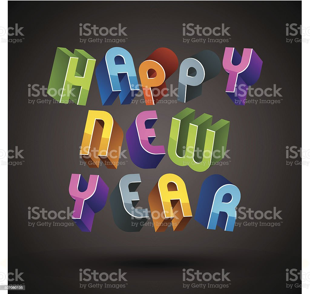 Happy New Year Card With Phrase 3d Retro Style Geometric Stock
