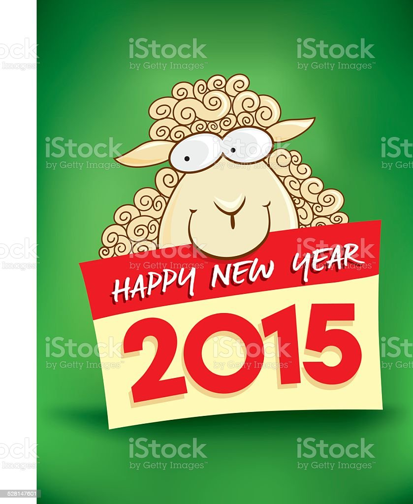 happy new year card with smile of sheep royalty free happy new year card with