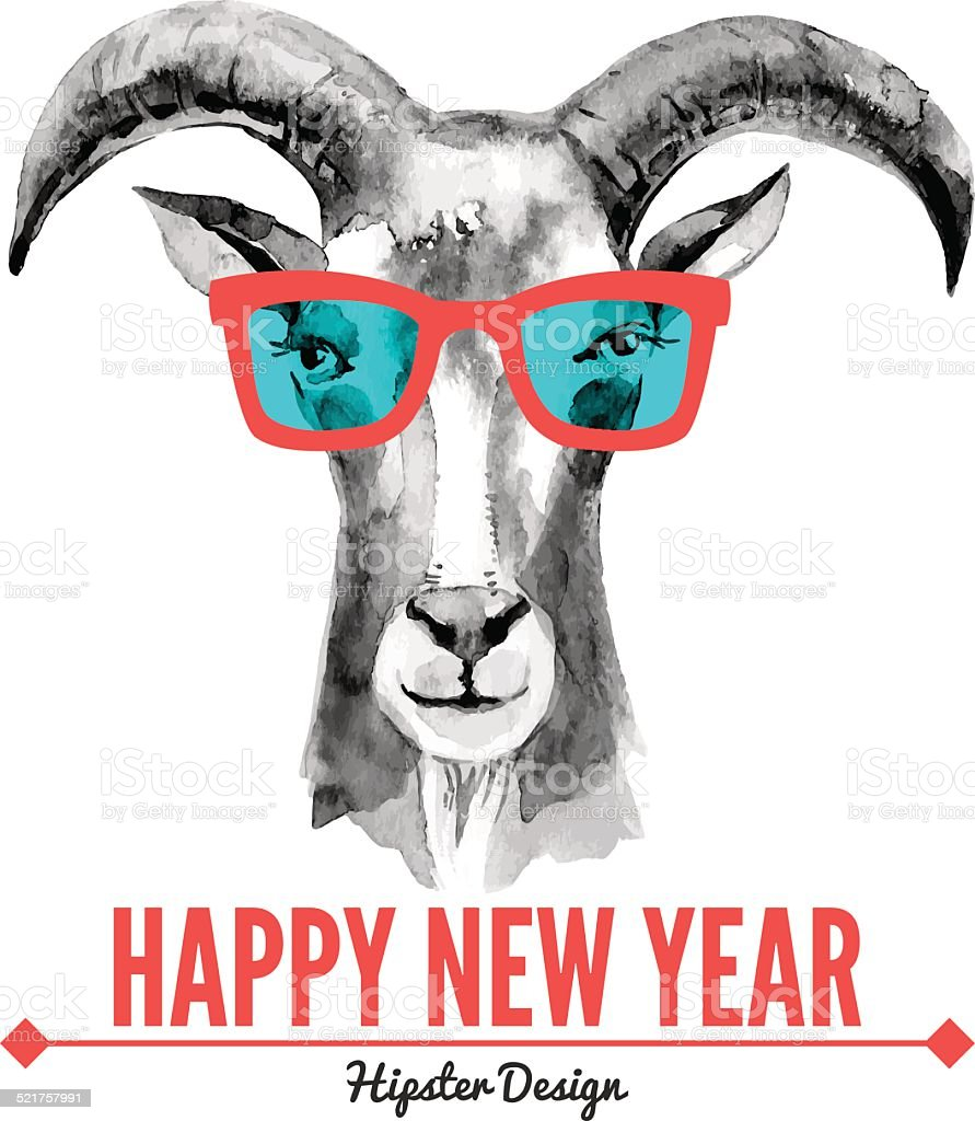 Happy New Year Card With Watercolor Portrait Hipster Goat Stock