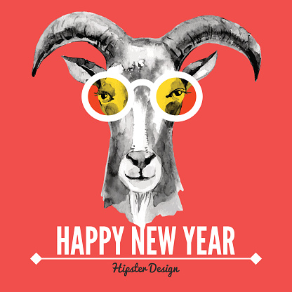 Happy New Year card with watercolor portrait of hipster goat