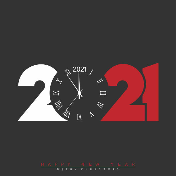 2021 Happy New Year card with white red text and watch. Vector 2021 Happy New Year card with white red text and watch. Vector. new years day stock illustrations