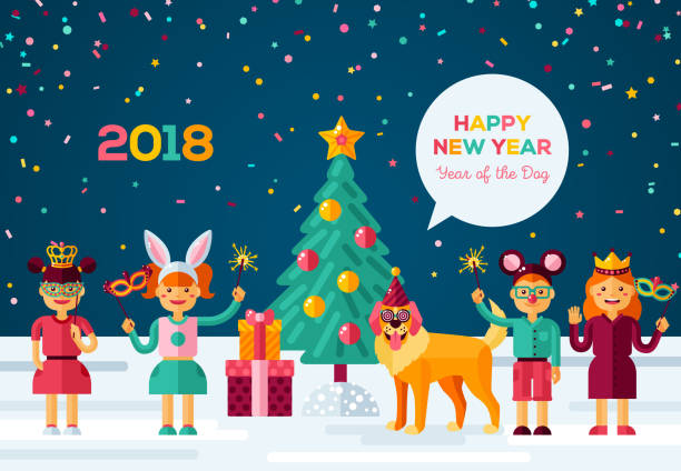 happy new year carnival night vector art illustration