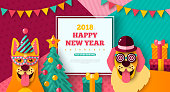 2018 Happy New year carnival with cheerful dogs