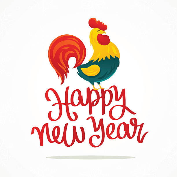 happy new year. cartoon drawing of a rooster - wunschkinder stock-grafiken, -clipart, -cartoons und -symbole