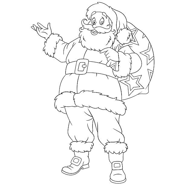 happy new year cartoon santa claus - old man funny pictures stock illustrations