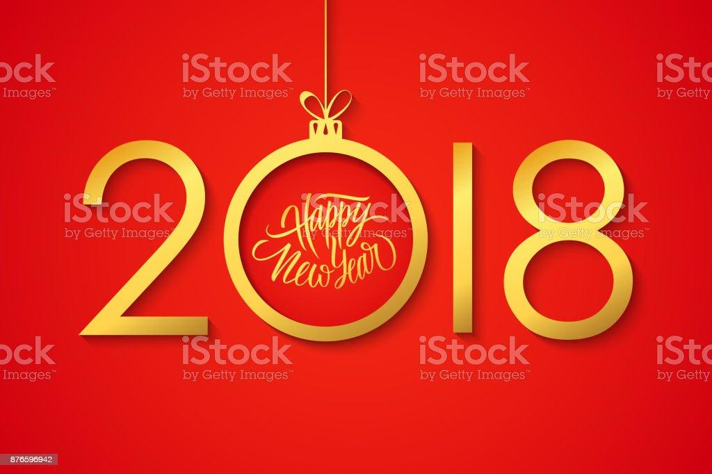 Felicitaciones Escritas De Navidad.Ilustracion De Feliz Ano Nuevo 2018 Celebrar Bandera