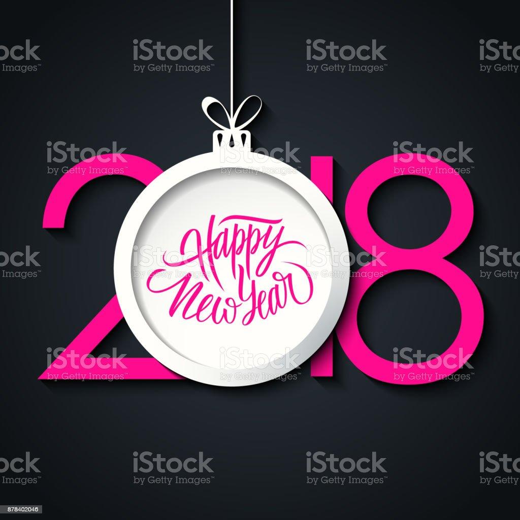 Felicitaciones Escritas De Navidad.Ilustracion De Feliz Ano Nuevo 2018 Celebrar Tarjeta Con