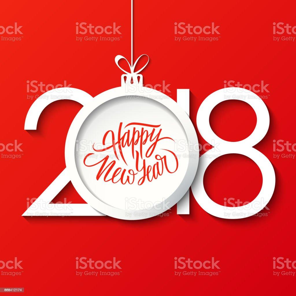 Felicitaciones Escritas De Navidad.Ilustracion De Feliz Ano Nuevo 2018 Celebrar Tarjeta De