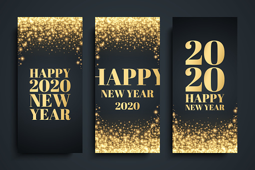 2020 Happy New Year celebrate flyers set with golden glittering sparks. Luxury New Year holiday backgrounds.
