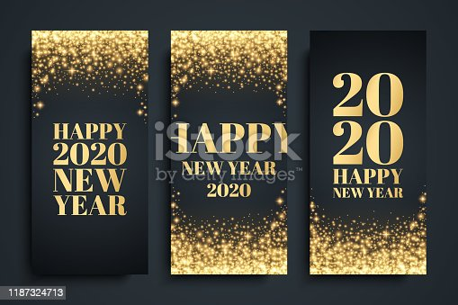 2020 Happy New Year celebrate flyers set with golden glittering sparks. Luxury New Year holiday backgrounds. Vector illustration.