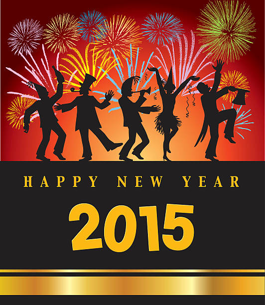 happy new year celebrating people with firework vector art illustration