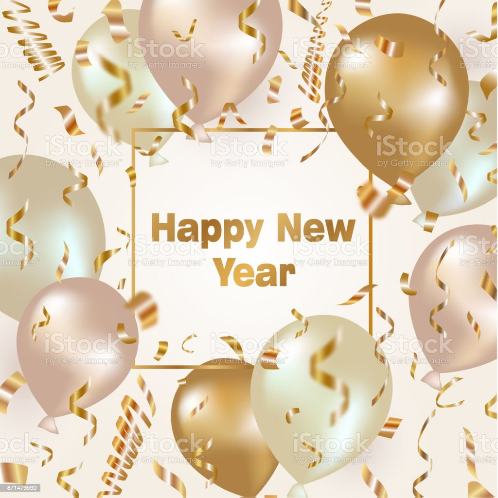 happy new year celebration background with gold balloons and confetti royalty free happy new year