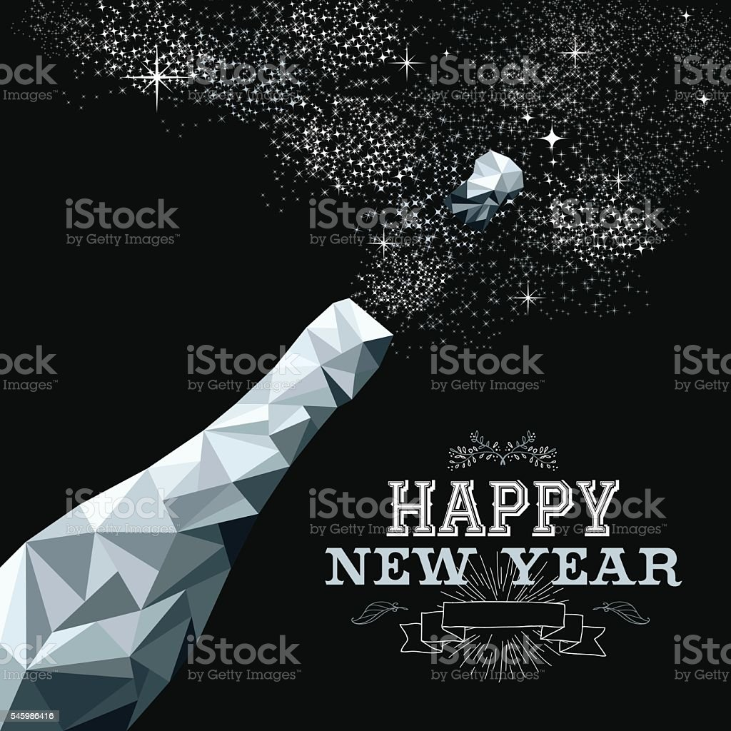 Happy new year champagne bottle low poly silver vector art illustration