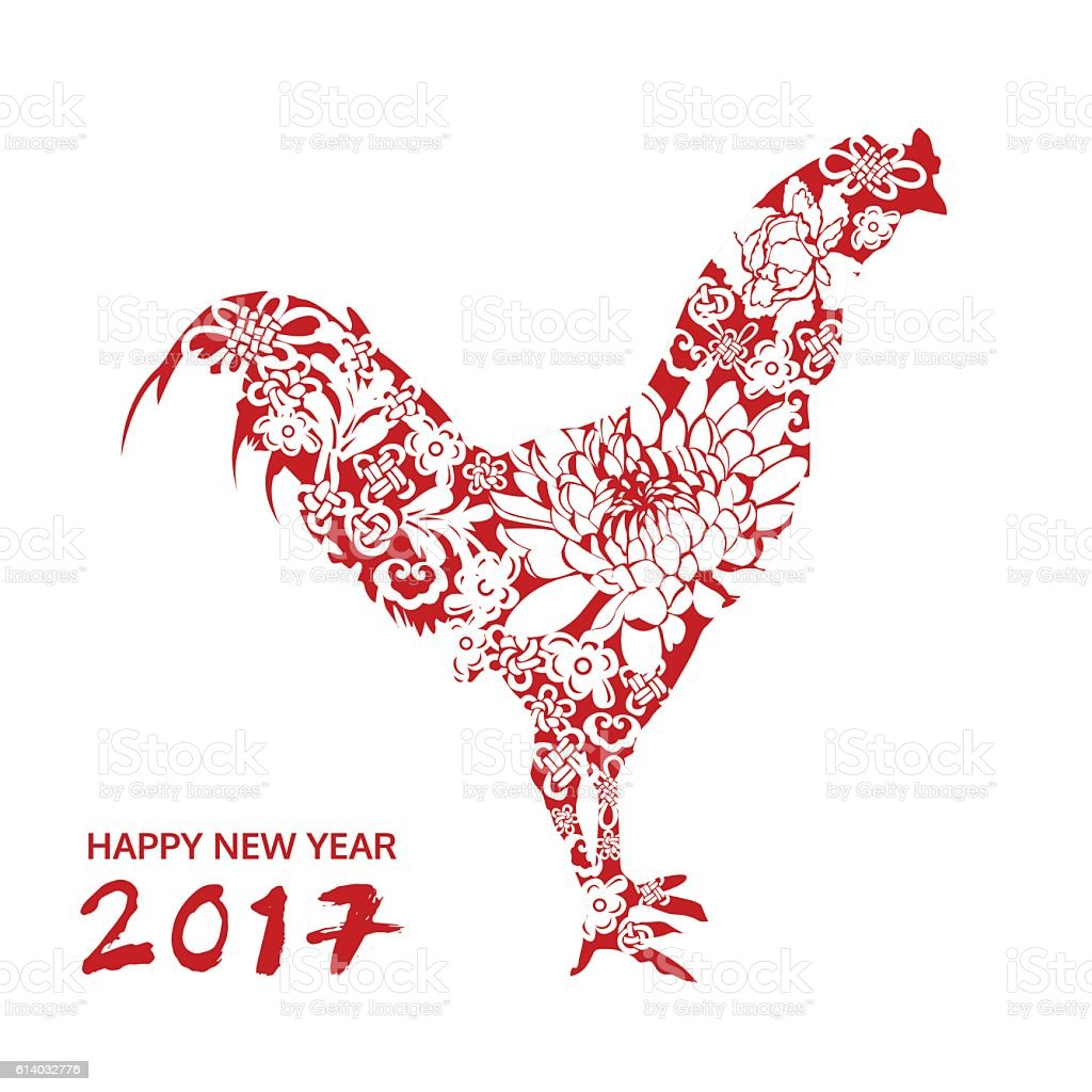 happy new year chicken with flower chinese style vector card royalty free