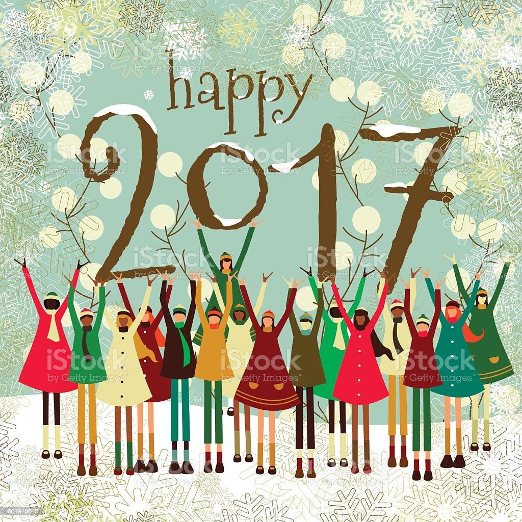 Happy new year children kids 2017 text christmas card vintage vector art illustration