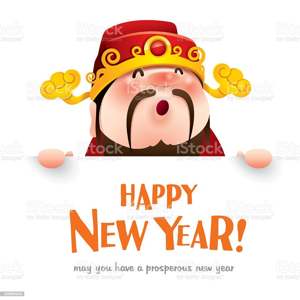 happy new year chinese god of wealth with big sign royalty free happy