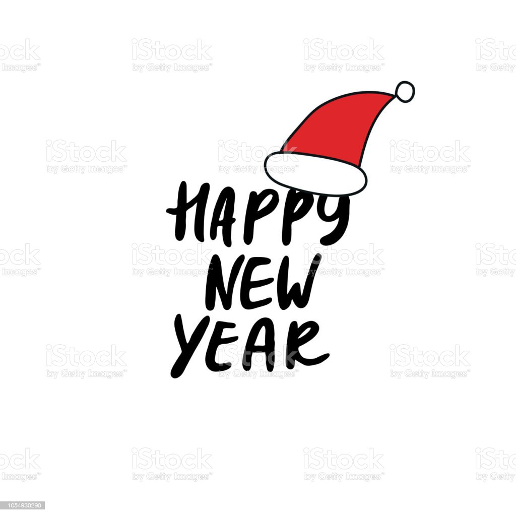 happy new year christmas and new year phrase and santa hat royalty free