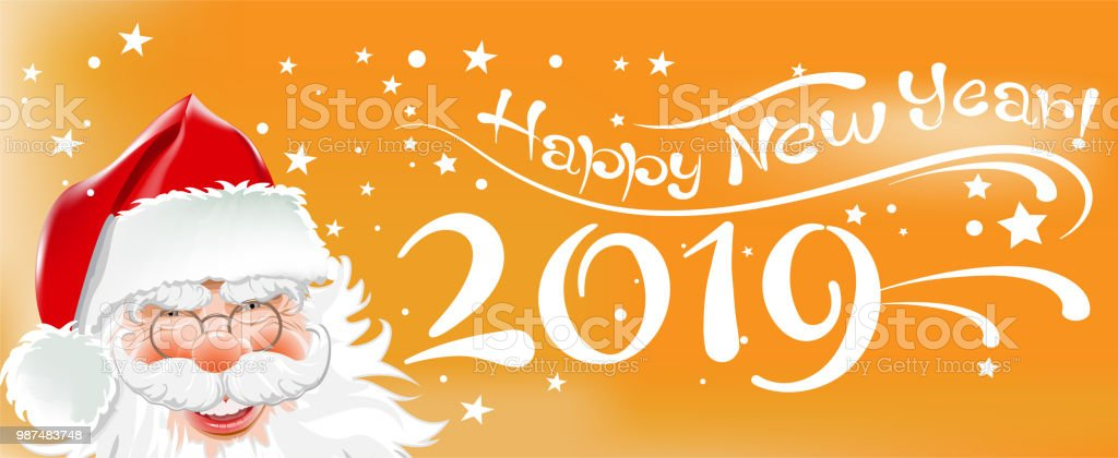2019 happy new year christmas card with santa claus and text on orange background