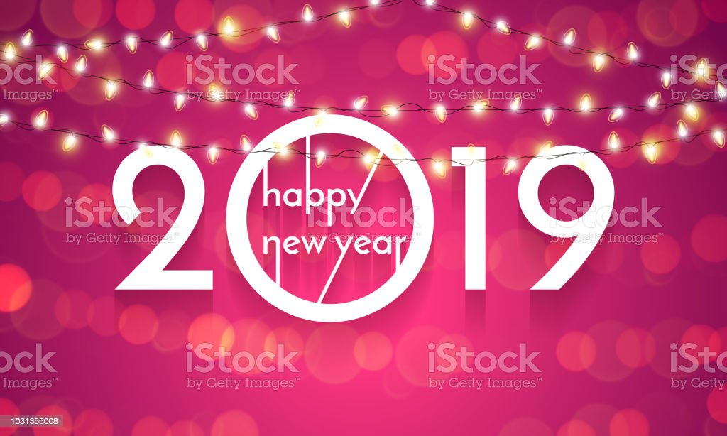 2019 Happy New Year Christmas Lights Vector Card Stock