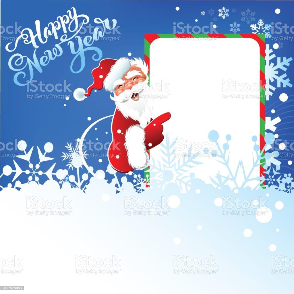 Mutlu Yeni Yıl Yılbaşı Noel Baba Mavi Arka Plan Metin Kar Taneleri