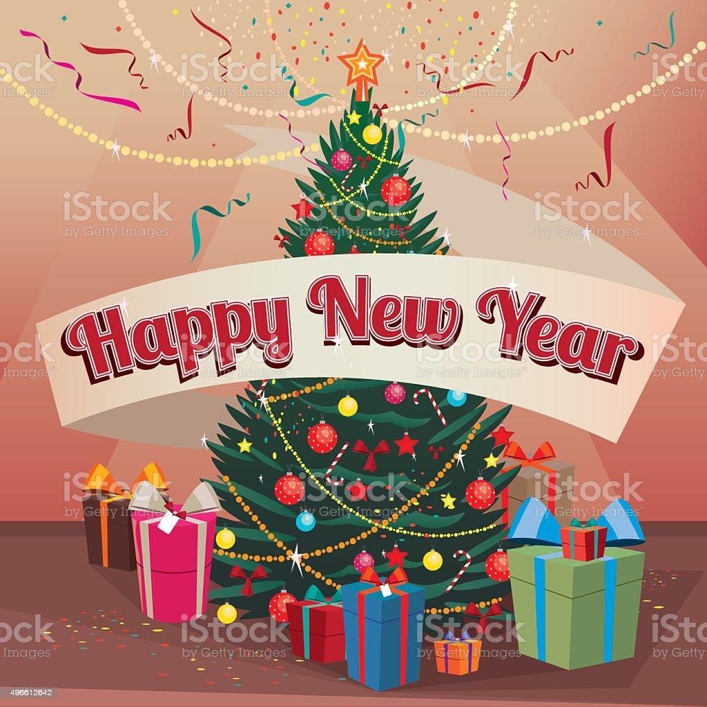 Frohes Neues Jahr Und Weihnachten Baum Und Geschenke Wie Zu Hause ...